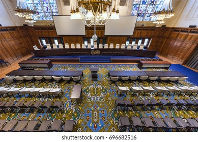 THE HAGUE, 11 August 2017, bird view of the empty international court of justice (ICJ) great hall of justice courtroom with judges bench, lawyers and audience chair settings, before holding a hearing
