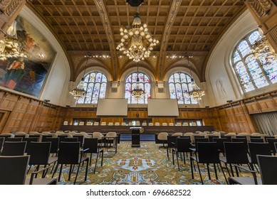 THE HAGUE, 11 August 2017, center view of the empty international court of justice great hall of justice courtroom with judges bench, lawyers and audience chair settings, before holding a hearing