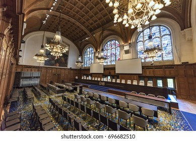 THE HAGUE, 11 August 2017, right view of the empty international court of justice (ICJ) great hall of justice courtroom with judges bench, lawyers and audience chair settings, before holding a hearing