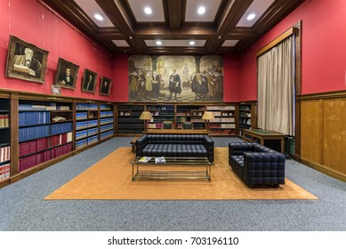 The Hague, 25 August 2017 : Reading room of the international law academy with bookshelf filled with all books collection related to the international law accessible for researchers coming from abroad