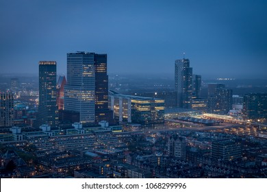 The Hague City Skyline and aerial skyline with urban skycrapers by night