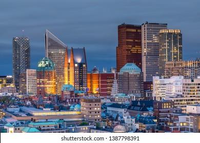 The Hague City Skyline with urban skycrapers