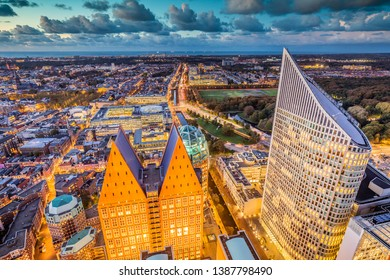 The Hague City Skyline with urban skycrapers