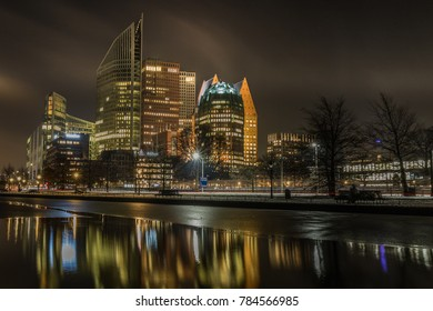The Hague City Skyline with urban skycrapers by night