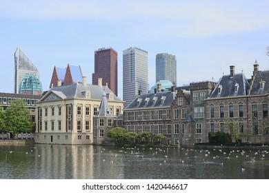 Hague or Den Haag - capital of Netherlands - modern buildings, Binnenhof palace, Dutch Parliament