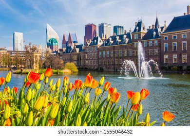 THE HAGUE (DEN HAAG), NETHERLANDS - APRIL 9, 2019 :: The Hague skyline in spring season.