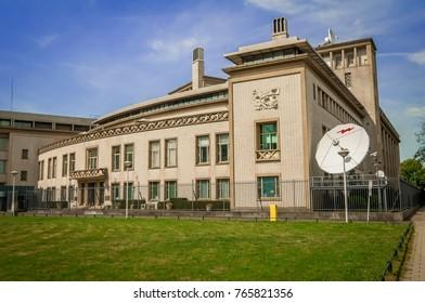 THE HAGUE (DEN HAAG), NETHERLANDS. July 19, 2017. The official building of the International Criminal Tribunal for the former Yugoslavia. Ratko Mladic, Slobodan Praljak were charged here.