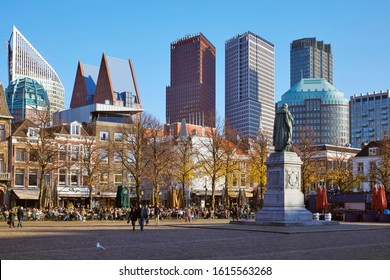 The Hague (Den Haag) / Netherlands - November 10th 2019: 'Het Plein' (The Square) in autumn colors with in the background the skyline