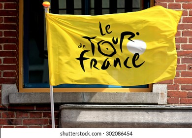 The HAGUE (Den Haag),SOUTH HOLLAND, THE NETHERLANDS, August 1, 2015, Flag with the official logo of Le Tour de France. The flag was used for the competition that had one stages in The Netherlands.