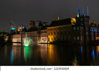 The Hague Hofvijver by night.