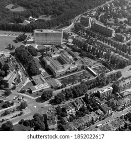 The Hague, Holland, August 29 - 1977: Historical aerial photo of Kunst Museum Den Haag, Holland in black and white