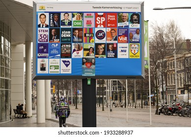 The hague, Holland - March 10, 2021: Billboard with dutch political campaign posters for the Dutch House of Representatives elections in March 2021