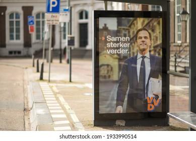 "The hague, Holland - March 11, 2021: Billboard Forum voor VVD. The text says ""Samen sterker verder."". English translation is ""Together stronger onwards"""