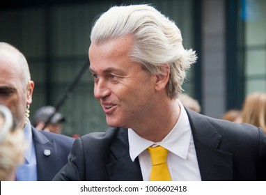 The Hague, Holland - March 16, 2014: Right wing politician Geert Wilders of the PVV party campaigns in The Hague, Holland on March 16, 2017