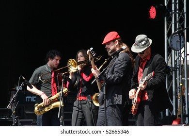 THE HAGUE, HOLLAND - MAY 5: Berliner band Rotfront on the anual Liberation Day festival on may 5, 2010 in The Hague, Holland