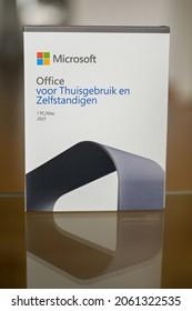 "The hague, Holland - October 21, 2021: Microsoft Office 2021 box. The text in dutch is ""Office voor Thuisgebruik en Zelfstandingen"". English translation is ""Home and Business"""