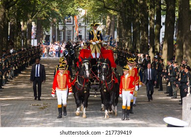 THE HAGUE, HOLLAND - SEPT 16: The carriage with Prince Constatijn van Oranje on the bicentennial Prinsjesdag (opening of parliamentary year by King) on September 16, 2014 in The Hague, Holland.