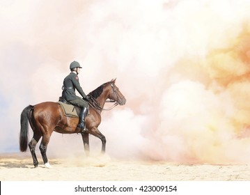 The Hague, Holland - September 15 2014: The honorary escort exercise their horses on the beach for opening of the parliamentary year a day later in the Hague in The Netherlands