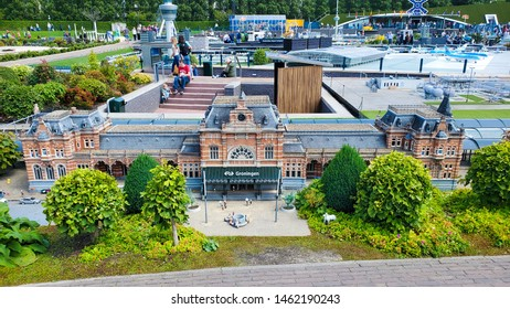 The Hague - July 16, 2019: Madurodam open air museum is located at the George Maduroplein in Den Haag and showcases The Netherlands in miniature. In this image the train station of Groningen.