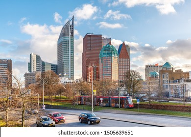 The Hague, Netherlands 02/02/2018 The Beautiful skyline of The Hague in te winter sun and bleu cloudy sky.