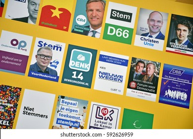 THE HAGUE, THE NETHERLANDS, 03 MARCH 2017 - A billboard with posters from Dutch political parties for the Dutch government elections, with political parties.