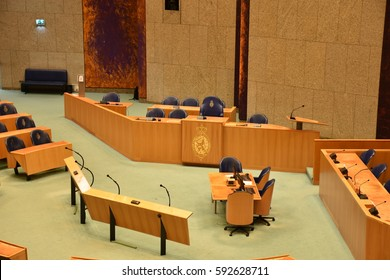 THE HAGUE, THE NETHERLANDS, 03 MARCH 2017 - View on the plenary room of the Dutch government building, with seats for elected members of Parliament.