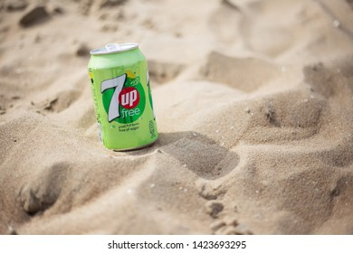 The Hague, Netherlands - 09.06.2019:  Can of new 7up free of the beach.