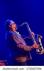 The Hague, Netherlands - 21 May 2009 : an older man, a senior citizen is preforming on stage with a sax ophone at the hague jazz festival