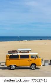 The Hague, the Netherlands - 21 May, 2017: classic VW kombi at Scheveningen beach