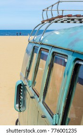 The Hague, the Netherlands - 21 May, 2017: retro luggage on VW classic kombi at the beach