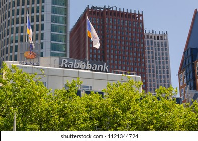The hague, Netherlands, 25-06-2018: A sign of the Rabobank in The Hague, Netherlands