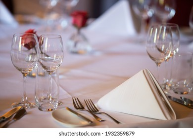 The Hague, Netherlands - 27 August 2018 : a dining table is prepared and decorated with linnen and cutlery for an official gala dinner
