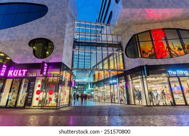 "THE HAGUE, THE NETHERLANDS - 8th of February, 2015: Night shot of the new shopping area ""De Passage"", on Grote Marktstraat shopping street, close to the Spui."