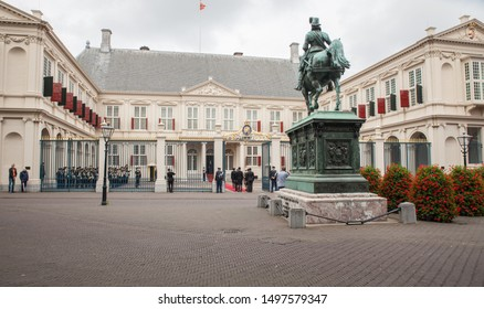 The Hague, Netherlands - an ambassador is going to present his or her credentials to the king and stand ready infront of the palace.