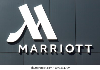 the Hague, Netherlands -april 18, 2018: Letters Marriot hotel on the facade of the hotel in the Hague