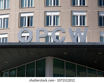 the Hague, Netherlands -april 18, 2018: Letters on the OPCW building in the hague Netherlands