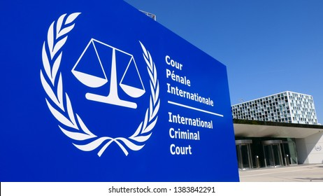 THE HAGUE, THE NETHERLANDS – APRIL 21, 2019: Close-up view of the sign of the International Criminal Court (ICC)