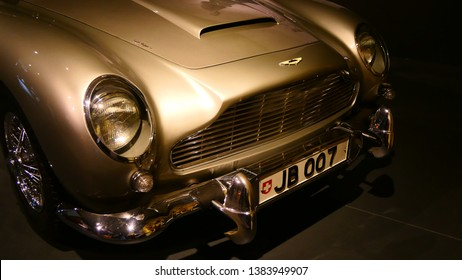 THE HAGUE, THE NETHERLANDS – APRIL 21, 2019: Front view with license plate of the famous and genuine Aston Martin from James Bond, 007 within the Louwman Museum