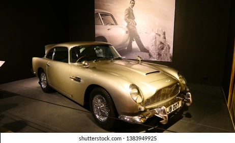 THE HAGUE, THE NETHERLANDS – APRIL 21, 2019: The famous and genuine Aston Martin from James Bond, 007 within the Louwman Museum