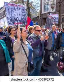The Hague, the Netherlands - April 24, 2015: protestors at an Armenian genocide demonstration.