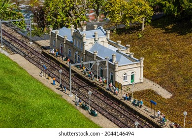 The Hague, Netherlands - April 26, 2017: Train station in Madurodam miniature park in The Hague.