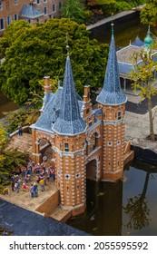 The Hague, Netherlands - April 26, 2017: Castle in Madurodam miniature park in The Hague.