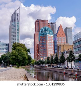 The Hague, The Netherlands - August 2020: The Hague Cityscape Of The City With High-Rise Buildings And Cloudy Sky.