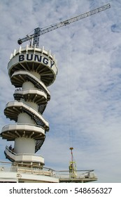 Hague, Netherlands - August 24, 2016 : Bungy jumping tower