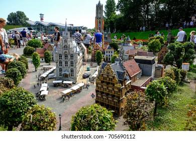 Hague, Netherlands - August 27, 2017: Madurodam, Holland miniature park and tourist attraction in Hague, Netherlands. City hall Gouda