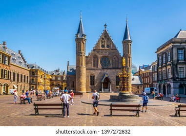 THE HAGUE, NETHERLANDS, AUGUST 7, 2018: Inner courtyard of the Binnenhof palace in the Hague, Netherlands