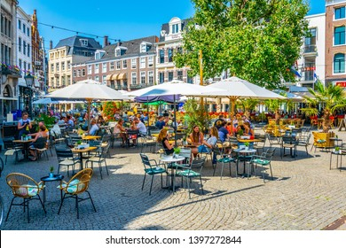 THE HAGUE, NETHERLANDS, AUGUST 7, 2018: People are strolling through Buitenhof square in the Hague, Netherlands