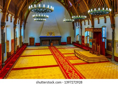 THE HAGUE, NETHERLANDS, AUGUST 7, 2018: Knight's hall inside of the Binnenhof palace in the Hague, Netherlands