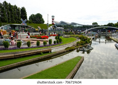 Hague, Netherlands - Augustus 27, 2017: Madurodam, Holland miniature park and tourist attraction in Hague, Netherlands. View of port, harbor and ships