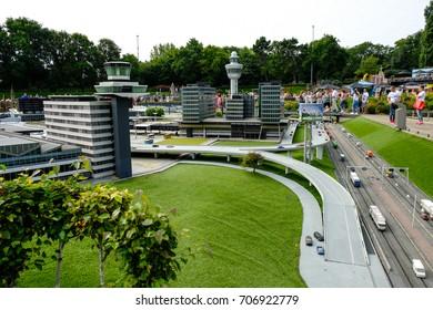 Hague, Netherlands - Augustus 27, 2017: Madurodam, Holland miniature park and tourist attraction in Hague, Netherlands. Amsterdam airport Schiphol